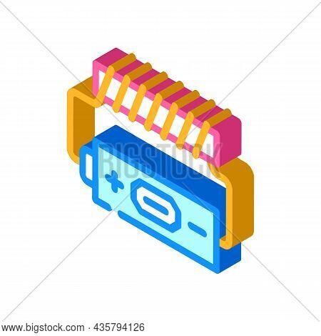 Battery Electromagnetic Isometric Icon Vector. Battery Electromagnetic Sign. Isolated Symbol Illustr