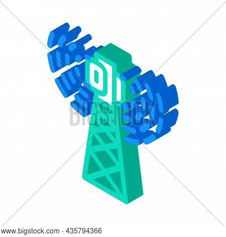 Antenna Electromagnetic Isometric Icon Vector. Antenna Electromagnetic Sign. Isolated Symbol Illustr