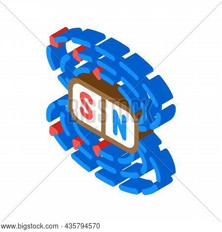 Field Electromagnetic Isometric Icon Vector. Field Electromagnetic Sign. Isolated Symbol Illustratio