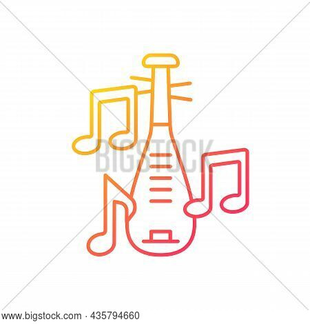 Pipa Instrument Gradient Linear Vector Icon. Four-stringed Plucked Lute. Traditional Pear-shaped Ins