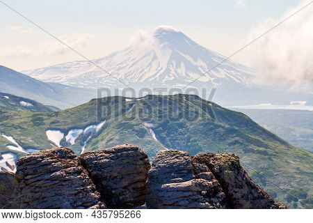 View Of The Ilyinsky Volcano Early In The Morning, Kamchatka Peninsula, Russia