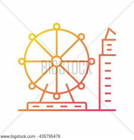 Singapore Flyer Gradient Linear Vector Icon. Large Observation Wheel. Amusement Ride. Theme Park. Fe