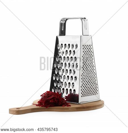 Stainless Steel Grater And Fresh Beetroot On White Background