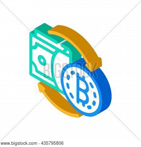 Money Exchange Cryptocurrency Globalization Isometric Icon Vector. Money Exchange Cryptocurrency Glo