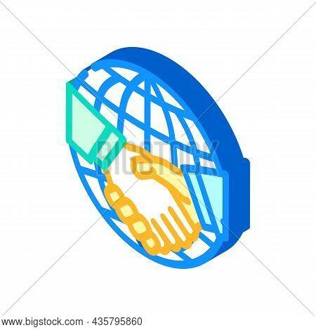 International Partnership Isometric Icon Vector. International Partnership Sign. Isolated Symbol Ill