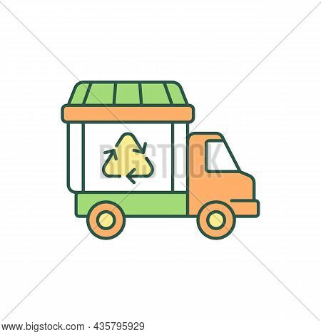 Garbage Truck Rgb Color Icon. Waste Collection Vehicle. Refuse Truck. Bin Lorry. Waste Management Se