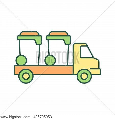 Container Delivery Vehicle Rgb Color Icon. Bin Lorry. Waste Management Service. Trash Bin Shipping.