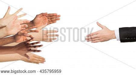 Hand Of European Businessman Reaches For Many Multiracial People, Workers, Isolated On White Backgro