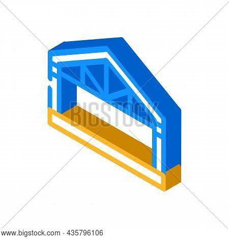Garage Metal Frame Isometric Icon Vector. Garage Metal Frame Sign. Isolated Symbol Illustration