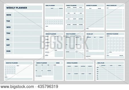 Blank Planner Templates. Business Planners, Weekly, Daily Or Meal Plan Pages. Notebook Papers, Strat