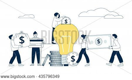 Crowdfunding Concept. Investment Idea, Fund Ideas For Invest. Creative Business Startup. People Dona