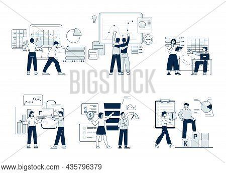 Kpi Business Analytics. Digital Financial Project, Partnership Strategy. B2b Concept, Dashboard Anal
