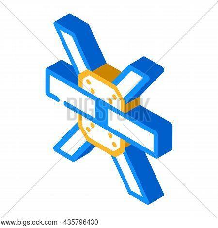 Construction Metallic Part Isometric Icon Vector. Construction Metallic Part Sign. Isolated Symbol I
