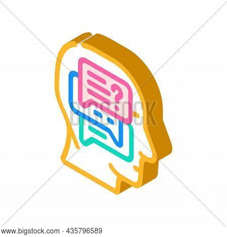 Discussion In Head Isometric Icon Vector. Discussion In Head Sign. Isolated Symbol Illustration