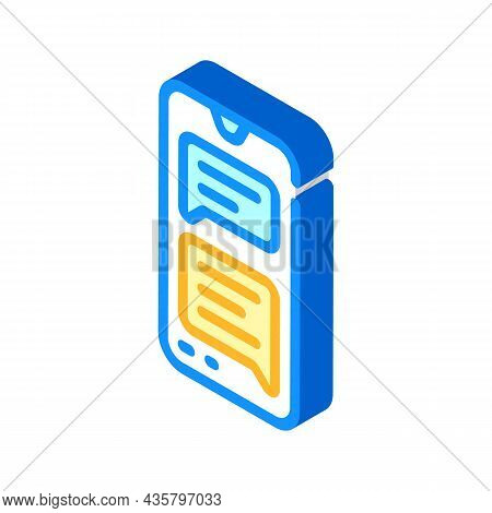 Sms Message Conversation Isometric Icon Vector. Sms Message Conversation Sign. Isolated Symbol Illus
