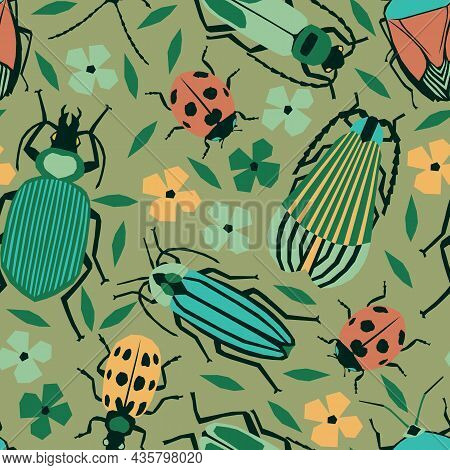 Vector Seamless Pattern With Beetles, Bugs, Lady Bugs Summer Design With Insects