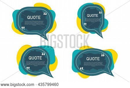 Set Of Frame For Quotes. Speech Bubble Icon. Template With A Text Box Inside. Bright Blank Quote Box