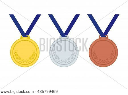 Winner's Medal. Gold, Silver, Bronze, First Second And Third Place. Award For Sports Achievements. T
