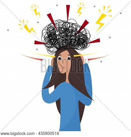 Young Character Of A Frustrated Woman, Bad Thoughts, Headache, Problems And Despair. My Head Is Spin