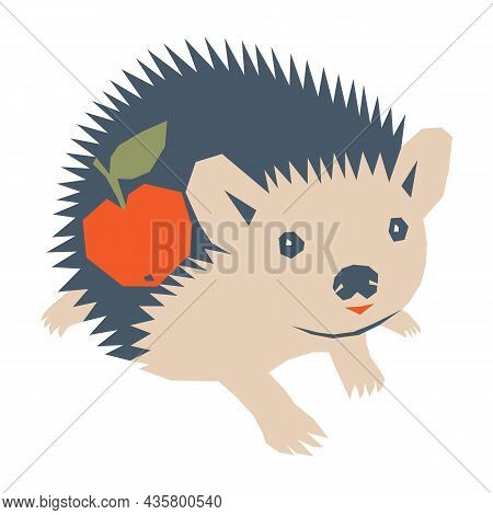 Vector Illustration With Cute Funny Hedgehog Character