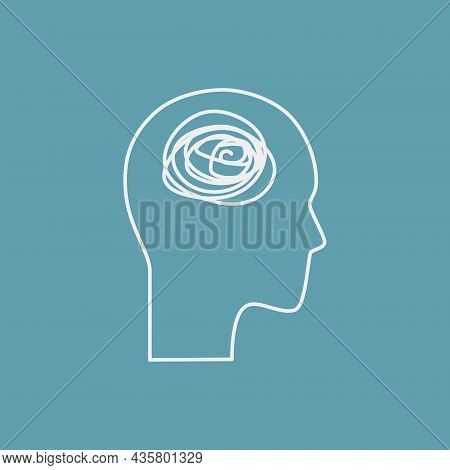 Psychological Problems Line Icon Concept. Human Head With Tangled Line Outline Stroke. Psychologist