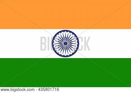 National India Flag. India Flag, Official Colors And Proportion Correctly With Chakra Ashoka. Vector