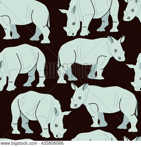 Vector Seamless Pattern With African Rhinos Rhinoceros Illustration