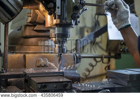 The Hole Drilling Processing By Drill Tool On Nc Milling Machine. The Shop Floor Operation By Nc Mil