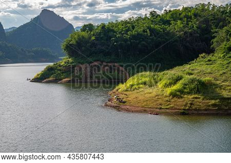 Beautiful View Of Mae Suai Reservoir (or Dammed Valleys) Located At A Narrow Part Of A Valley Downst