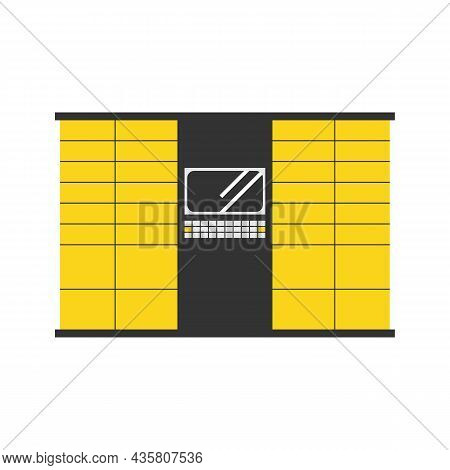 Yellow Parcel Station, Parcel Locker, Postamat With Display Vector Icon, Illustration For Contactles