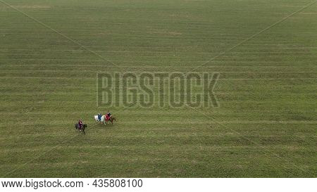 Aerial View Of Group Of Fox Hunters On The Horses In The Autumn Field. Equestrian Riding Sport In A