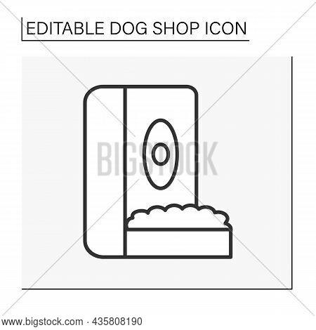 Dog Store Line Icon. Automatic Dog Feeder. Snacks. Shop Concept. Isolated Vector Illustration. Edita