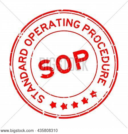 Grunge Red Sop Standard Operating Procedure Word Round Rubber Seal Stamp On White Background