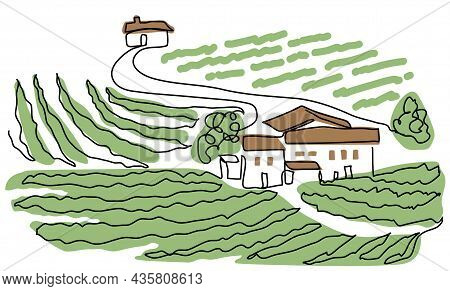 Vineyard Farm One Continuous Line Art Drawing. Simple Vector Sketch Illustration. Landscape With Gra