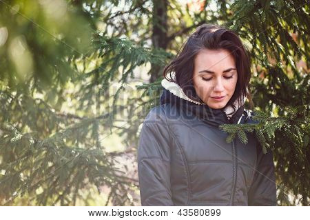 Portret Of Young Girl In Sunny Day