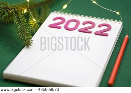 Christmas Wishlist 2022 Or Letter To Santa On Green Colored Paper Background. Festive Decoration, Ch