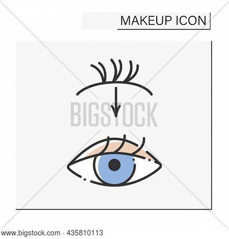 Eyelash Extension Color Icon. Applying Individual Synthetic Lashes Onto Natural Eyelash.adding Extra