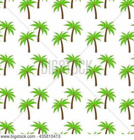 Palm Trees With Coconuts, Seamless Pattern. Background With Coconut Palms, Vector