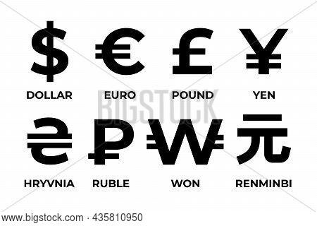 Currency Symbols. Dollar, Euro, Pound, Yen, Ruble