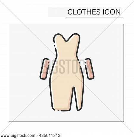 Fashion Color Icon. Going Out In Evening Dress. Elegance Dress With Gloves.clothes Concept. Isolated