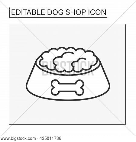 Snacks Line Icon. Tasty Dry Food For Dogs In A Bowl. Crispy Food.shop Concept. Isolated Vector Illus