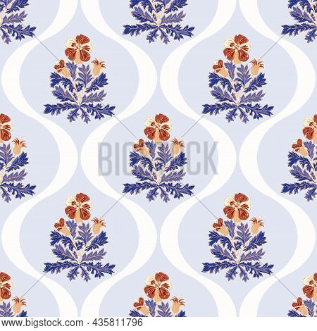 Pelagronium Floral Ogee Vector Pattern Background. Historical Style Backdrop In Pastel Blue And Red