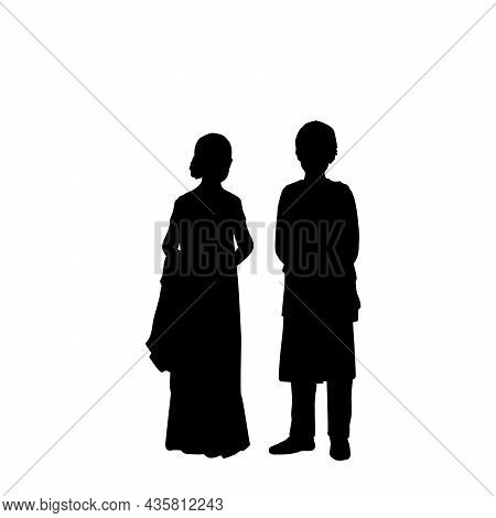 Silhouettes Boy And Girl Indian Children. Indian Culture And Religion. Illustration Symbol Icon