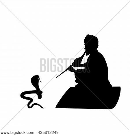 Silhouette Indian Snake Charmer. Happy Nag Panchami. Indian Culture And Religion. Illustration Symbo