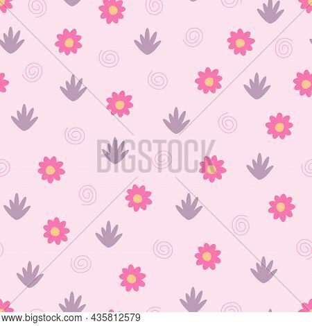 Colorful Seamless Floral Pattern - Hand Drawn Delicate Design. Abstract Trendy Background. Vector Il