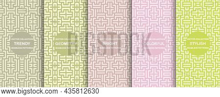 Set Of Vector Colorful Seamless Geometric Patterns - Striped Delicate Design. Vibrant Creative Backg