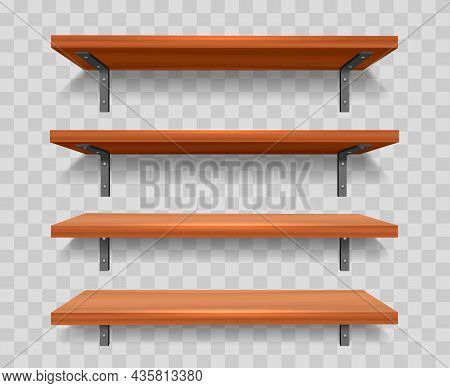 Wood Wall Shelf Set. Library Wooden Booksshelves With Metal Furniture, Clean Grocery Racks, Brown Of