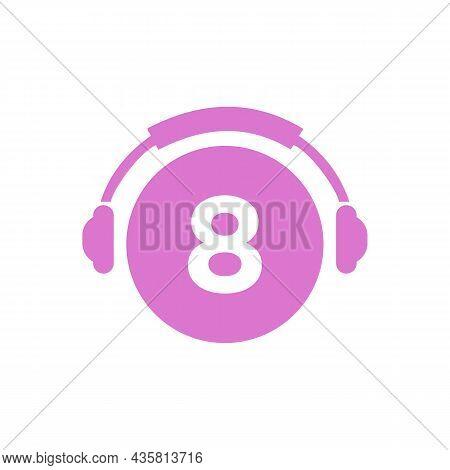 Headphone Template On 8 Letter. Letter 8 Music Logo Design. Dj Music And Podcast Logo Design Headpho