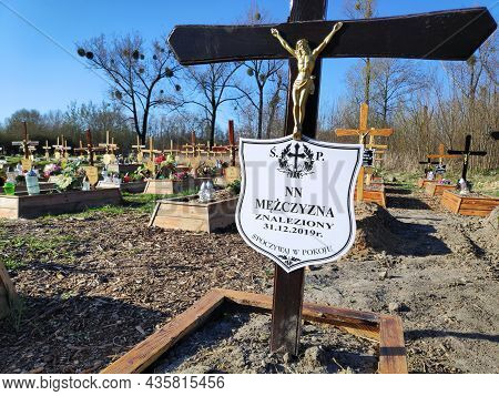 Bytom, Poland - April 12, 2020: Simple Grave Of An Unidentified Person Found By Police In Poland. Nn