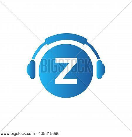 Headphone Template On Z Letter. Letter Z Music Logo Design. Dj Music And Podcast Logo Design Headpho